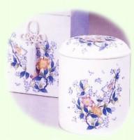 特選骨容器 /人絹貼箱・素焼花柄セット